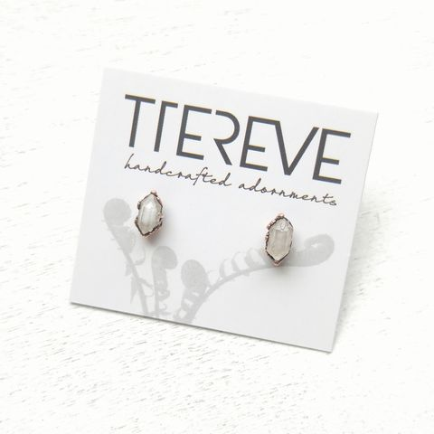 Crystal,Stud,Earrings,ttereve, crystal stud earrings, ttereve adornments, ttereve jewelry, electroformed earrings, copper studs