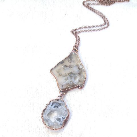 Graveyard,Geode,Dyad,Necklace,ttereve, electroformed necklace, plume agate necklace, collectors necklace, contemporary necklace, agate necklace, oco geode necklace, druzy necklace