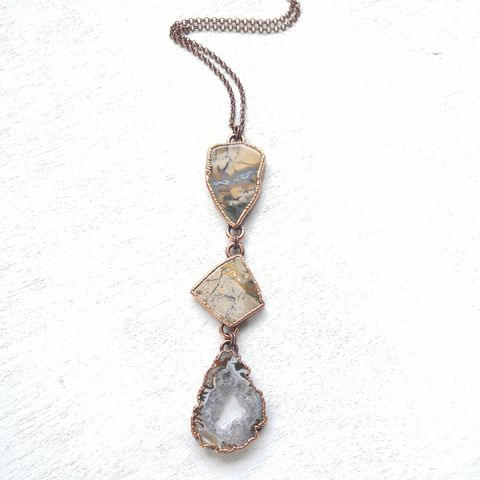 Sage,Chalcedony,Tria,Necklace,ttereve, stack necklace, electroformed necklace, electroformed crystal, collectors necklace