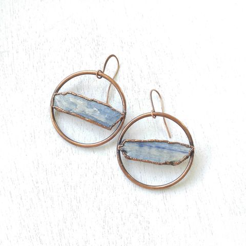 Kyanite,Hoop,Earrings,ttereve, kyanite earrings, kyanite jewelry, ttereve adornments, ttereve jewelry, electroformed earrings