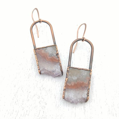 Amethyst,Slice,Stirrup,Earrings,ttereve, amethyst earrings, amethyst jewelry, ttereve adornments, ttereve jewelry, electroformed earrings