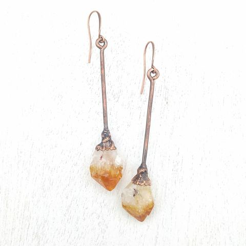 Citrine,Wand,Earrings,ttereve, citrine earrings, citrine magic wand, citrine jewelry, ttereve adornments, ttereve jewelry, electroformed earrings, organic jewelry