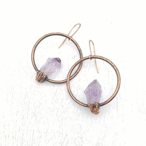 Amethyst,Orb,Earrings,ttereve, amethyst earrings, amethyst jewelry, ttereve adornments, ttereve jewelry, electroformed earrings