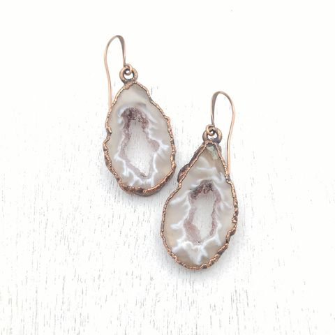 Geode,Slice,Earrings,ttereve, geode earrings, druzy jewelry, ttereve adornments, ttereve jewelry, electroformed earrings