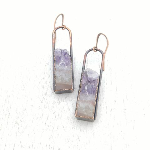Amethyst,Geode,Stirrup,Earrings,ttereve, amethyst earrings, amethyst jewelry, ttereve adornments, ttereve jewelry, electroformed earrings, druzy earrings, geode earrings