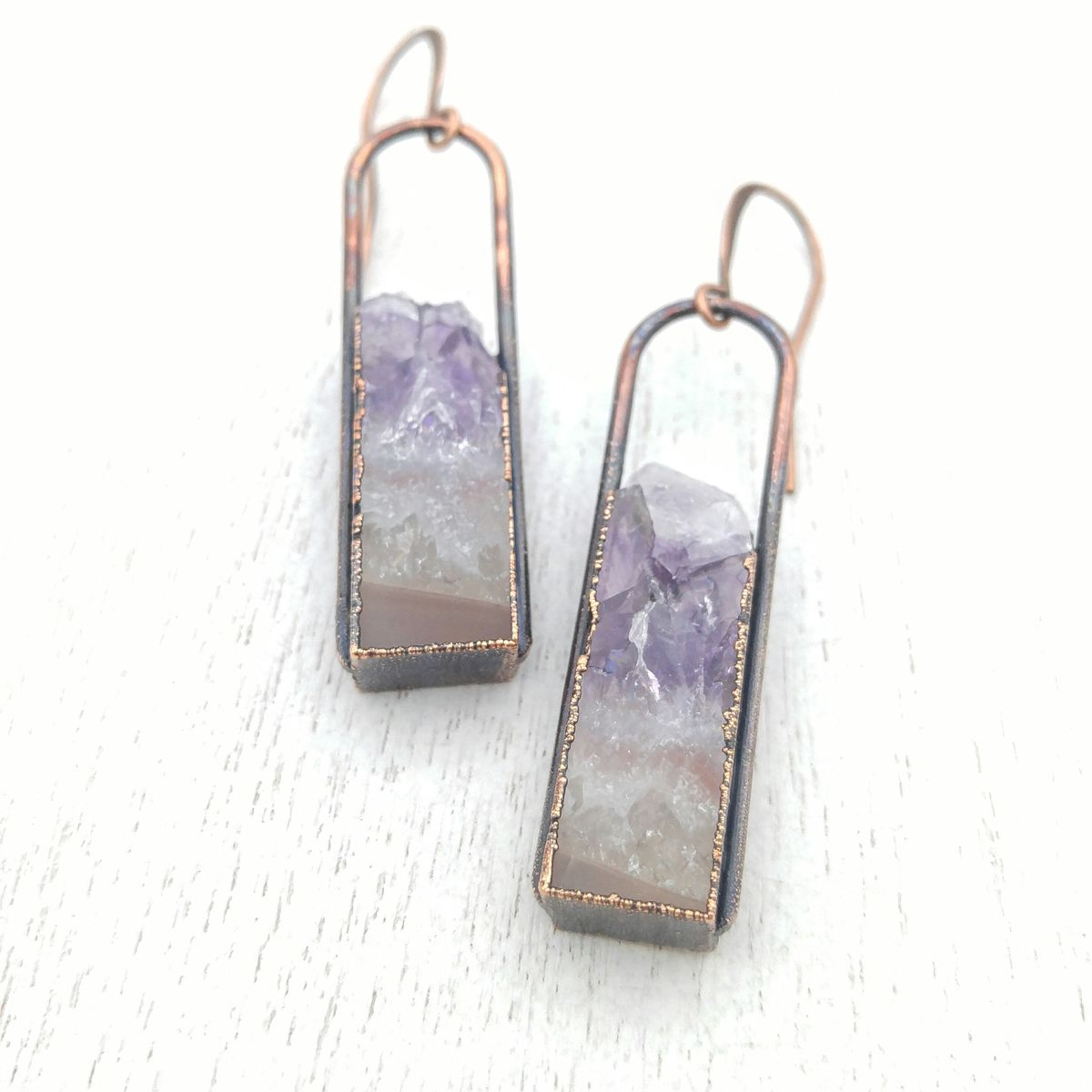 Amethyst Geode Stirrup Earrings - product images  of