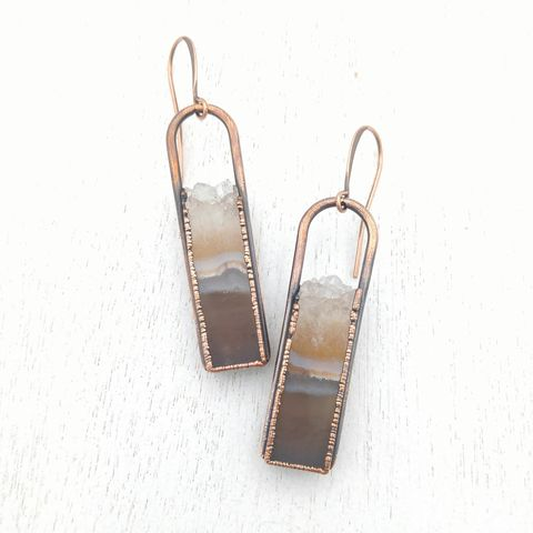 Crystal,Geode,Stirrup,Earrings,ttereve, druzy jewelry, ttereve jewelry, electroformed earrings, druzy earrings, geode earrings
