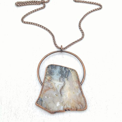 Graveyard,Agate,Orb,Necklace,ttereve, agate necklace, agate slice jewelry, electroformed necklace, large stone necklace, graveyard point plume agate