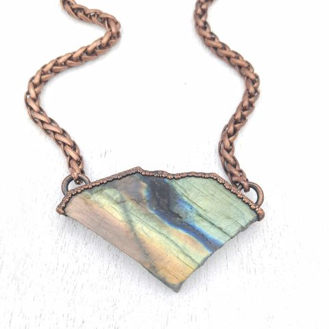 Labradorite,Specimen,Statement,Necklace,ttereve, labradorite statement necklace, chunky labradorite necklace, rainbow labradorite necklace