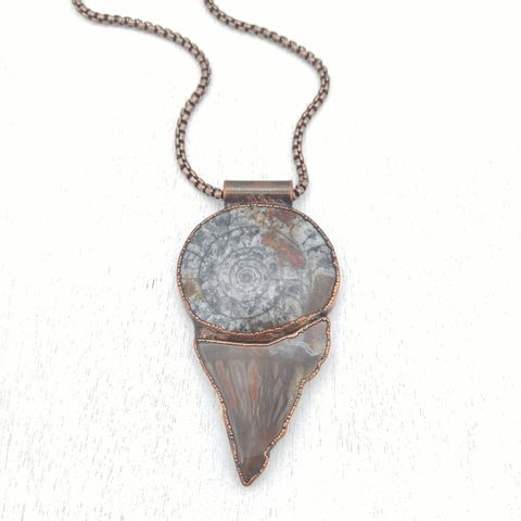 Fossil,Petro,Stack,Necklace,ttereve, copper fossil necklace, wood necklace, fossil necklace, ammonite necklace, organic design necklace
