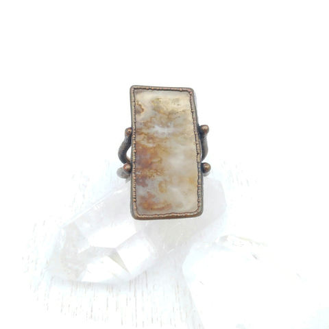 Plume,Agate,Stirrup,Ring,ttereve, plume agate, electroformed, copper, ring