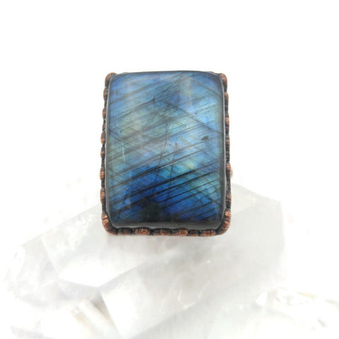 Labradorite,Copper,Ring,ttereve, labradorite, electroformed, copper, raw, crystals, ring