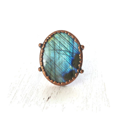 Labradorite,Copper,Stirrup,Ring,ttereve, labradorite, electroformed, copper, raw, crystals, ring