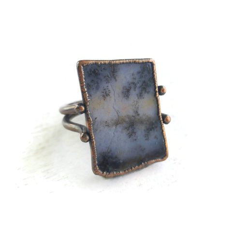 Ame,Sage,Copper,Stirrup,Ring,ttereve, amethyst sage chalcedony, electroformed, copper, raw, crystals, ring
