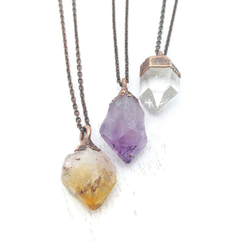 Crystal,Necklace,ttereve, crystal necklace, quartz jewelry, amethyst necklace, copper crystal necklace, citrine necklace