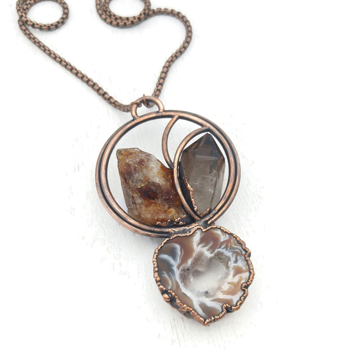 Smoky Citrine Geode Necklace - product images  of