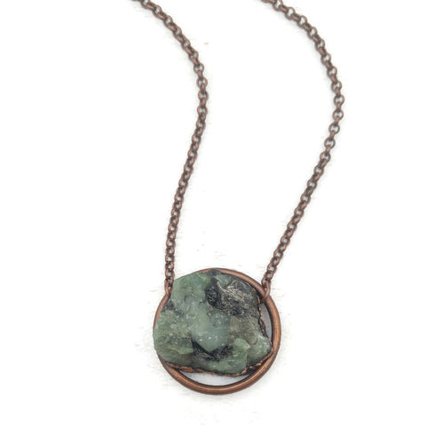 Raw,Emerald,Orb,Necklace,ttereve, raw emerald necklace, electroformed jewelry, emerald copper necklace