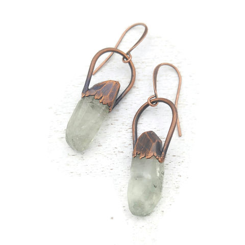 Green,Amethyst,Earrings,ttereve, crystal earrings, green amethyst earrings, ttereve adornments, electroformed earrings