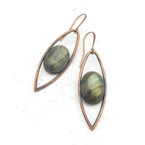 Labradorite,Iris,Statement,Earrings,ttereve, labradorite earrings, labradorite jewelry, ttereve adornments, green labradorite, electroformed earrings