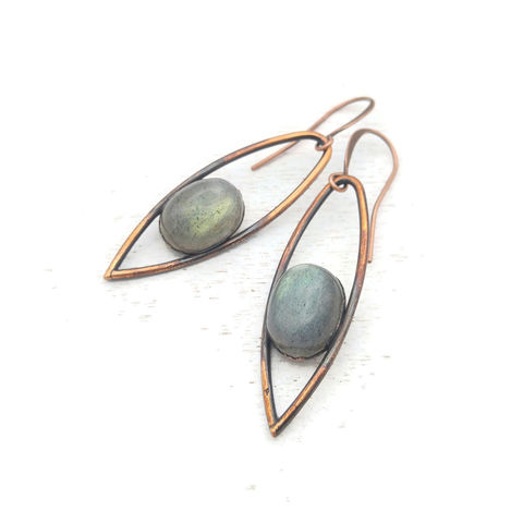 Blue-Green,Labradorite,Iris,Earrings,ttereve, labradorite earrings, labradorite jewelry, ttereve adornments, blue labradorite, electroformed earrings