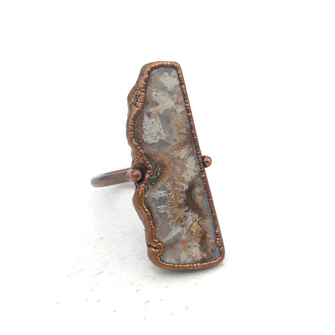 Lace,Agate,Stirrup,Ring,ttereve, lace agate ring, electroformed, copper ring