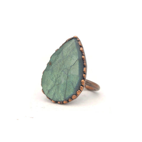 Labradorite,Drop,Copper,Ring,ttereve, labradorite, electroformed, labradorite ring, sea green stone