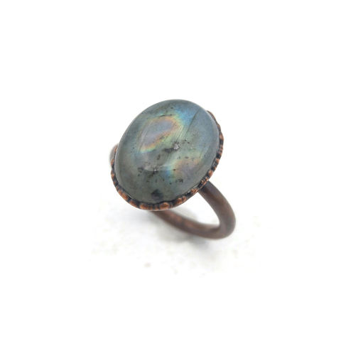 Rainbow,Copper,Ring,ttereve, labradorite, electroformed, labradorite ring, sea green stone