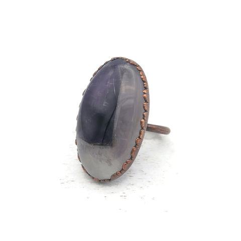 Amethyst,Dome,Ring,ttereve, amethyst, electroformed, copper, amethyst ring