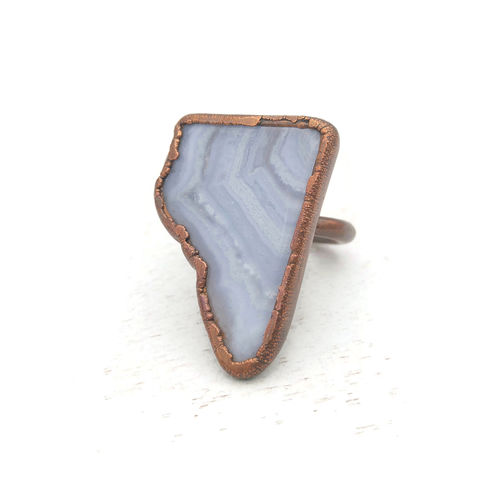 Blue,Lace,Agate,Ring,ttereve, lace agate ring, electroformed, blue lace agate ring