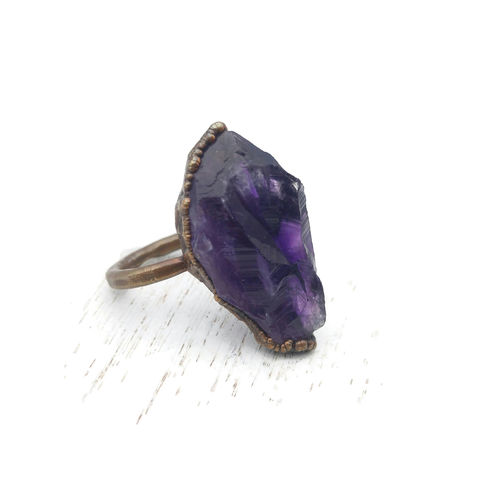Raw,Amethyst,Crystal,Ring,ttereve, amethyst, electroformed, copper, amethyst ring