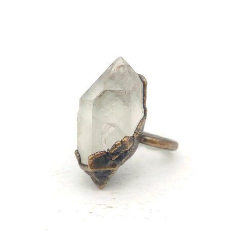 Raw,Crystal,Quartz,Ring,ttereve, crystal quartz, electroformed, copper, quartz ring
