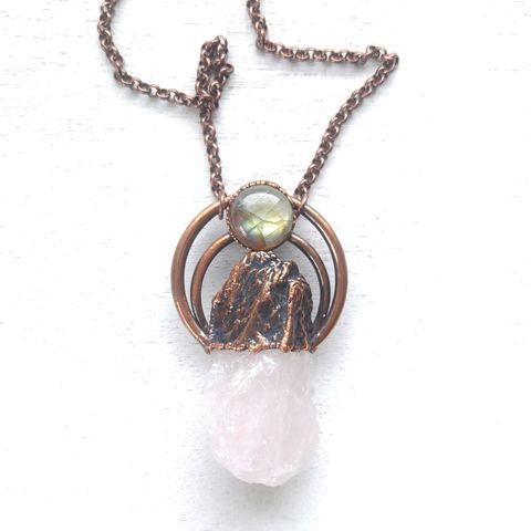 Rose,Halo,Necklace,ttereve, crystal necklace, rose quartz jewelry, labradorite necklace, electroformed crystal