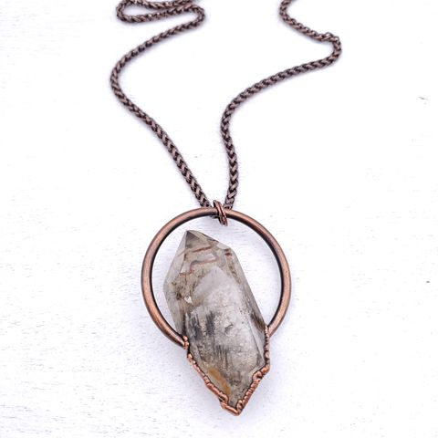 Amphibole,Crystal,Statement,Necklace,ttereve, crystal necklace, quartz jewelry, electroformed crystal, amphibole quartz necklace
