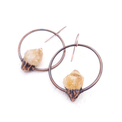 Citrine,Orb,Earrings,ttereve, citrine earrings, citrine jewelry, ttereve adornments, ttereve jewelry, electroformed earrings, organic jewelry