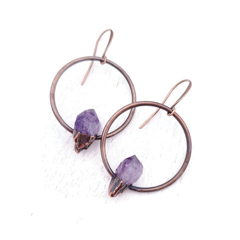 Amethyst,Shard,Earrings,ttereve, amethyst earrings, amethyst jewelry, ttereve adornments, ttereve jewelry, electroformed earrings