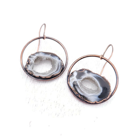 Zebra,Geode,Orb,Earrings,ttereve, geode earrings, druzy jewelry, ttereve adornments, ttereve jewelry, electroformed earrings
