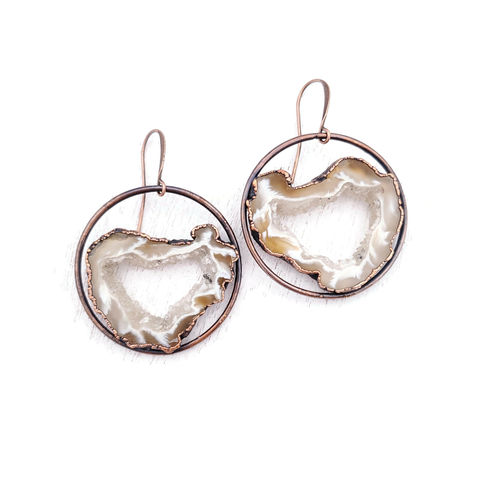 Natural,Geode,Orb,Earrings,ttereve, geode earrings, druzy jewelry, ttereve adornments, ttereve jewelry, electroformed earrings
