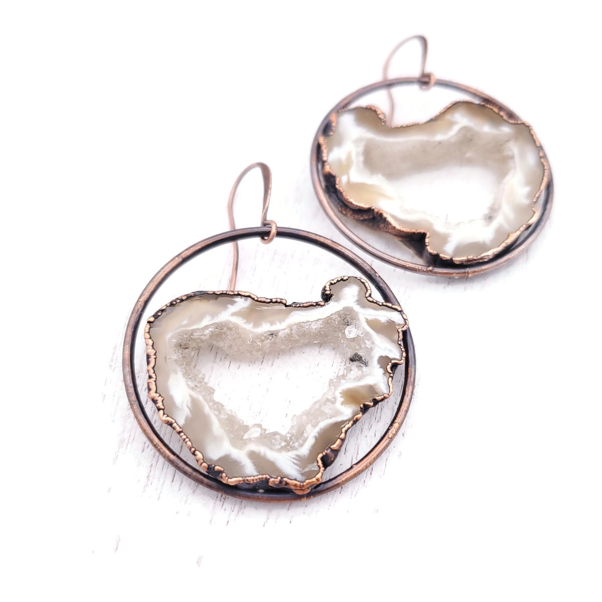 Natural Geode Orb Earrings - product images  of