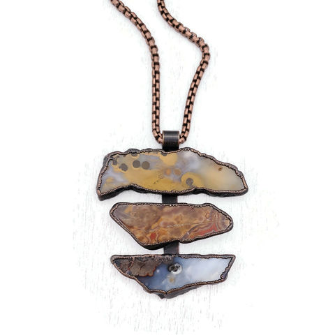 Polka,Agate,Totem,Necklace,ttereve, ttereve adornments, ttereve jewelry, stone slice necklace, electroformed necklace, electroformed copper stone, totem necklace