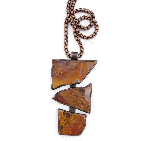 River,Agate,Totem,Necklace,ttereve, ttereve adornments, ttereve jewelry, stone slice necklace, electroformed necklace, electroformed copper stone, totem necklace