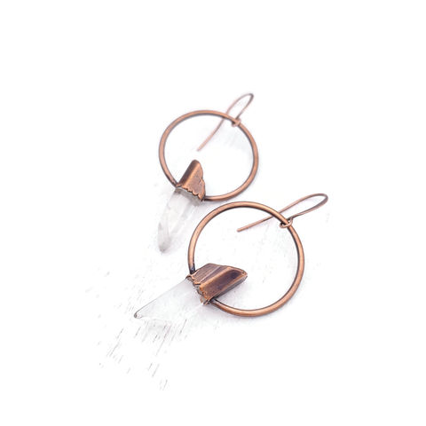 Quartz,Orb,Earrings,ttereve, crystal earrings, quartz jewelry, ttereve adornments, ttereve jewelry, electroformed earrings