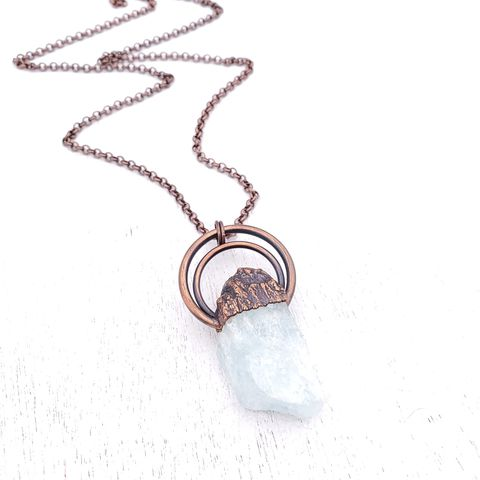 Aquamarine,Halo,Necklace,ttereve, crystal necklace, aquamarine jewelry, electroformed necklace, electroformed crystal, raw aquamarine necklace
