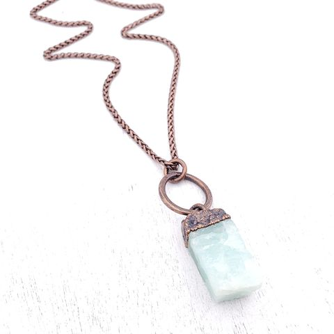 Aquamarine,Block,Necklace,ttereve, crystal necklace, aquamarine jewelry, electroformed necklace, electroformed crystal, raw aquamarine necklace