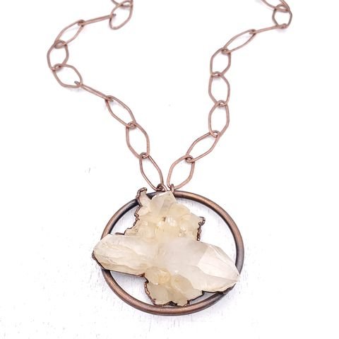 Raw,Quartz,Orb,Necklace,ttereve, crystal necklace, quartz jewelry, electroformed necklace, electroformed cryatal, raw crystal necklace