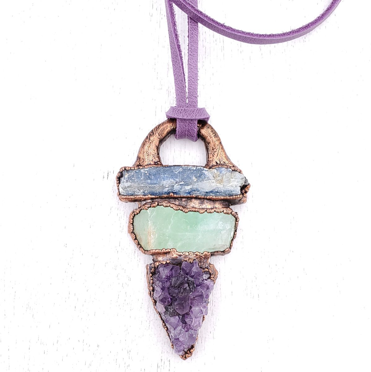 Amethyst Kyanite Talisman Necklace - product images  of