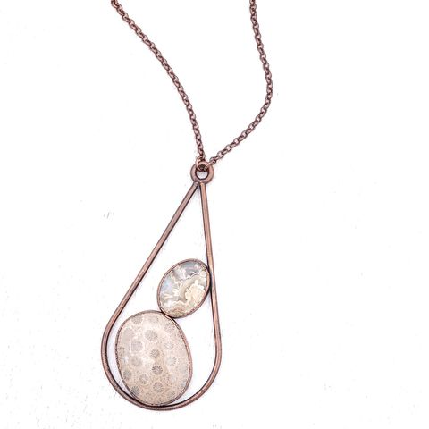 Lace,Fossil,Duo,Drop,Necklace,ttereve, fossil coral necklace, electroformed necklace, electroformed stone, lace agate, fossil coral