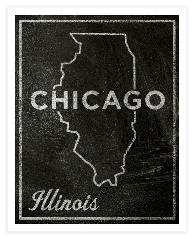 Chicago City State Art Print - 11 in x 14 in Chicago Print - Chalkboard Art - Custom State Print, Illinois State Art - product images  of