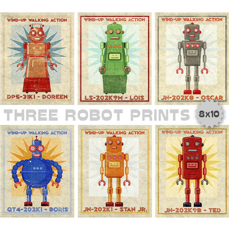 "Retro Robot Art Prints- 8"" x 10""- Set of 3 Robot Prints- Land of Nod Retrobot Series- Robot Wall Art for Kids Room- Sci Fi Art - product images  of"