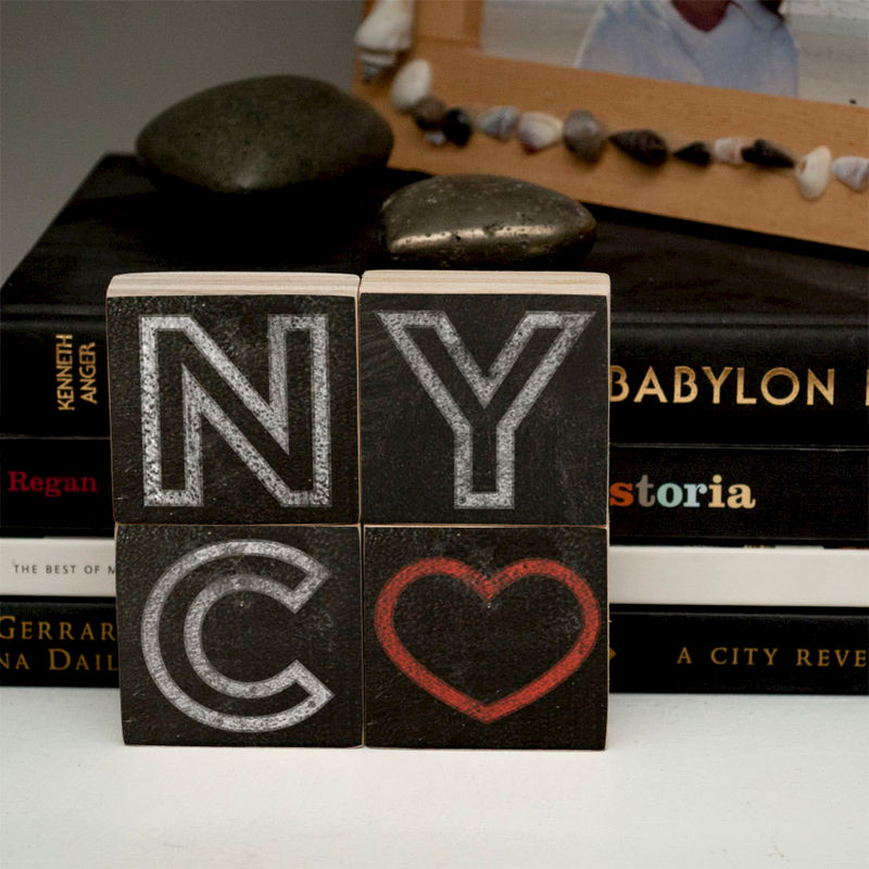 "Unique Gift Idea- New York City Art- Chalkboard City Love Letter Art Blocks- 2"" x 2"" Set of 4 New York City Print- NYC Artwork - product images  of"