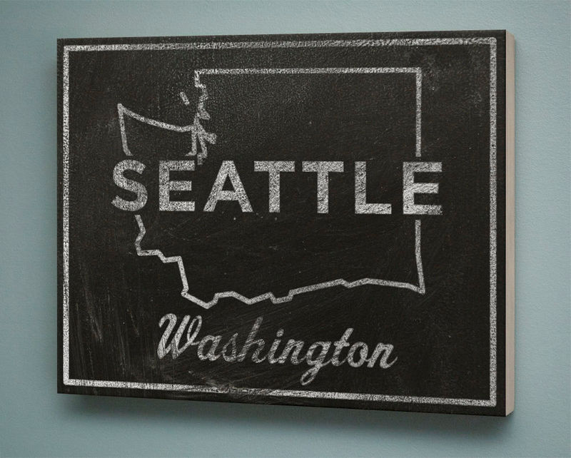 "Seattle Art City State Art Box- 11"" x 14"" Seattle Print- Chalkboard Art- Washington State Poster, Wedding State Print- Going Away Gifts - product images  of"